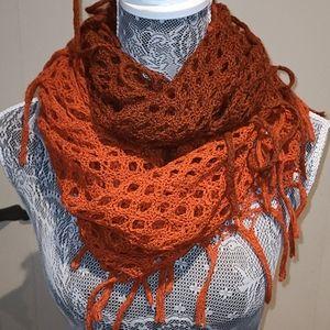 Open knit boho fringed infinity scarf.
